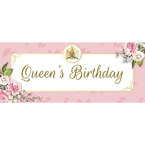 Queen's Birthday Pink PVC Party Sign Decoration 60cm x 25cm Product Image