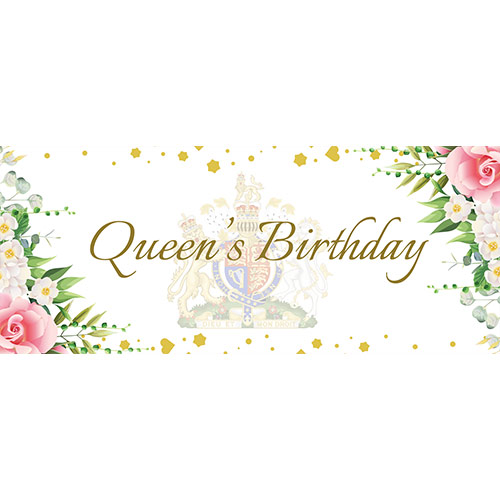 Queen's Birthday White PVC Party Sign Decoration 60cm x 25cm Product Image