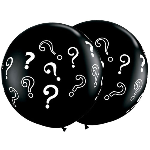 Question Mark Onyx Black Jumbo Round Latex Balloons 91cm / 36Inch - Pack of 2 Product Image