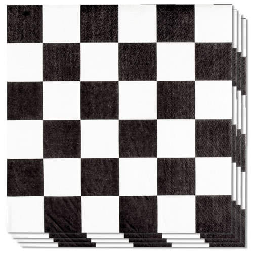 Racing Black And White Chequered Luncheon Napkins 33cm 2Ply - Pack of 12 Bundle Product Image