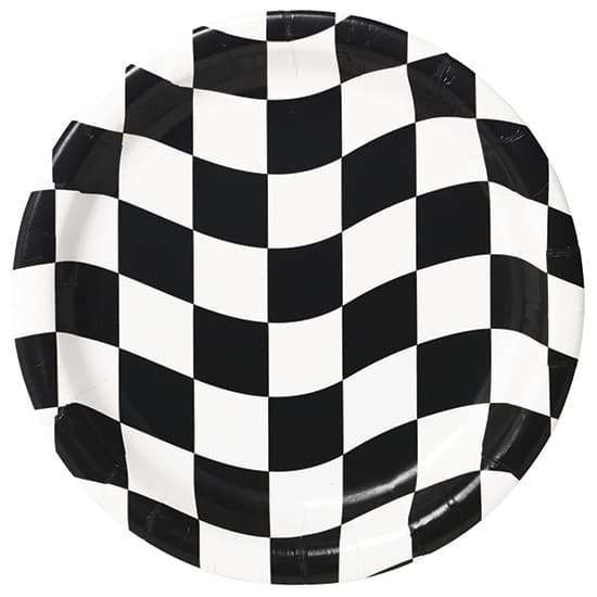 Black and White Check Round Paper Plates 22cm - Pack of 8