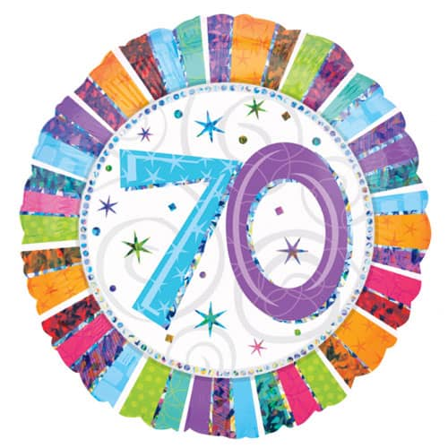 Radiant 70th Birthday Holographic Round Foil Helium Balloon 46cm / 18Inch Product Image