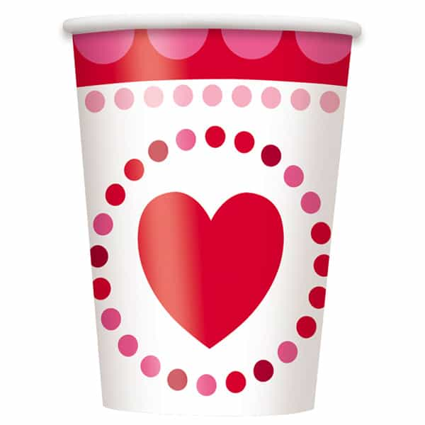 Radiant Hearts Paper Cups 266ml - Pack of 8 Product Image