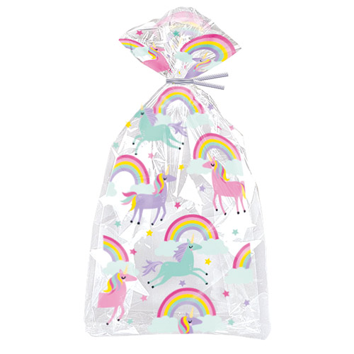 Rainbow & Unicorn Cello Gift Bags with Twist Ties - Pack of 20