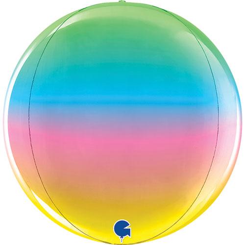 Rainbow 4D Globe Foil Helium Balloon 29cm / 11 in Product Image