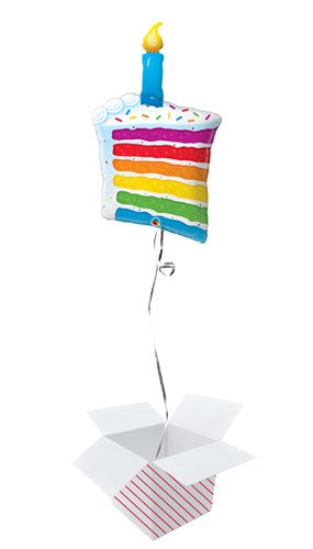 Rainbow Cake And Candle Helium Foil Giant Qualatex Balloon - Inflated Balloon in a Box Product Image