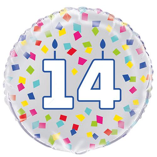 Rainbow Confetti Birthday Age 14 Round Foil Helium Balloon 46cm / 18 in