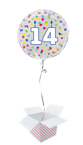 Rainbow Confetti Birthday Age 14 Round Foil Helium Balloon - Inflated Balloon in a Box