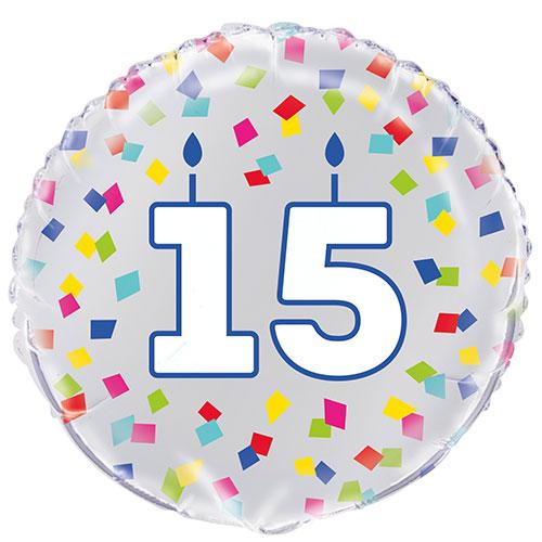 Rainbow Confetti Birthday Age 15 Round Foil Helium Balloon 46cm / 18 in