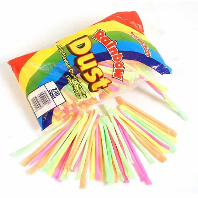 Assorted Colours Rainbow Dust Sweets Straws - Pack of 10 Product Image