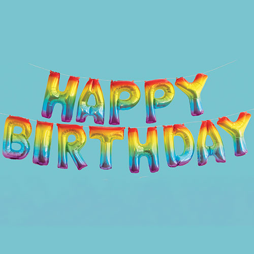 Rainbow Happy Birthday Air Fill Foil Balloon Kit 35cm