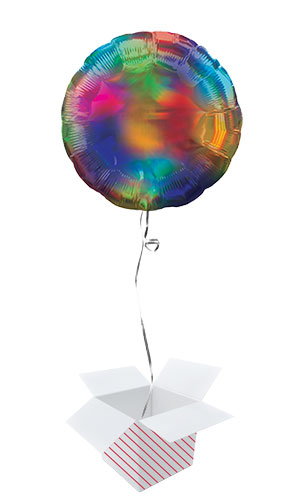 Rainbow Iridescent Round Foil Helium Balloon - Inflated Balloon in a Box