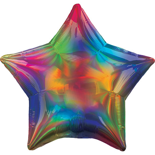 Rainbow Iridescent Star Foil Helium Balloon 48cm / 19Inch