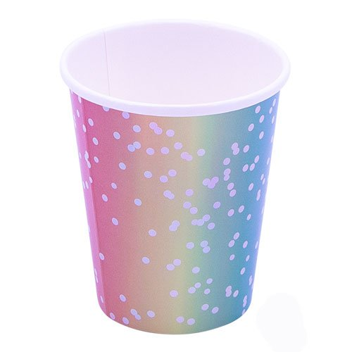 Rainbow Ombre Metallic Paper Cups 250ml - Pack of 8