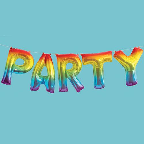 Rainbow Party Air Fill Foil Balloon Kit 35cm