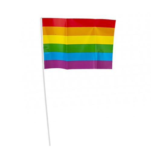 Rainbow Pride Plastic Hand Flag on Stick 30cm - Pack of 5 Product Image