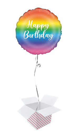 Rainbow Script Birthday Round Foil Helium Balloon - Inflated Balloon in a Box Product Image