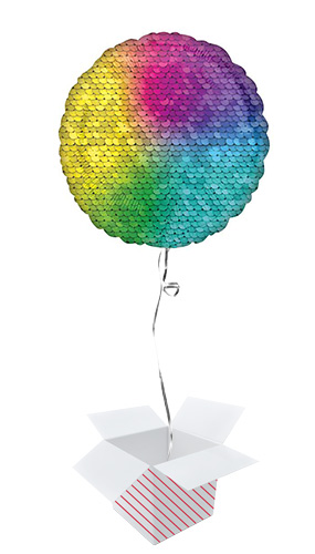 Rainbow Sequins Round Foil Helium Balloon - Inflated Balloon in a Box