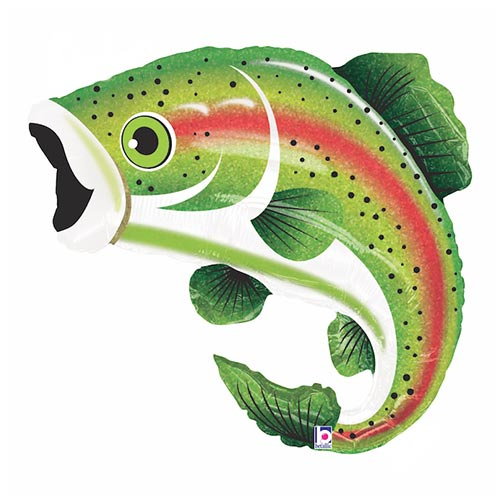 Rainbow Trout Holographic Helium Foil Giant Balloon 74cm / 29 in Product Image