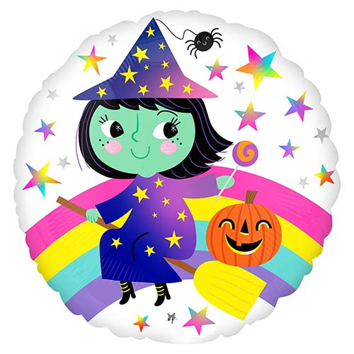 Rainbow Witch Halloween Round Foil Helium Balloon 43cm / 17 in Product Image