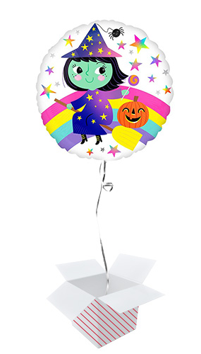 Rainbow Witch Halloween Round Foil Helium Balloon - Inflated Balloon in a Box Product Image