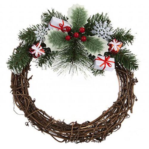 Nordic Rattan Wreath Christmas Decoration 30cm