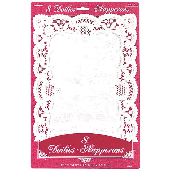 White Rectangle Paper Doilies - 14 x 10 Inches / 37 x 25cm - Pack of 8