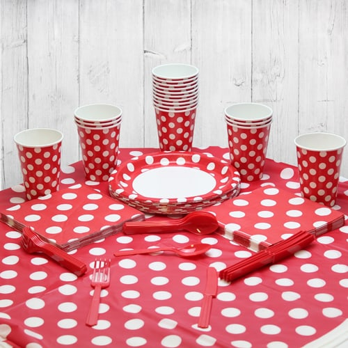Ruby Red Decorative Dot 18 Person Party Pack