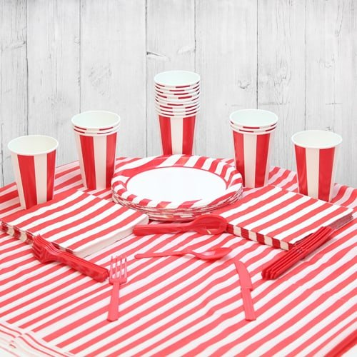 Red And White Stripe 18 Person Party Pack