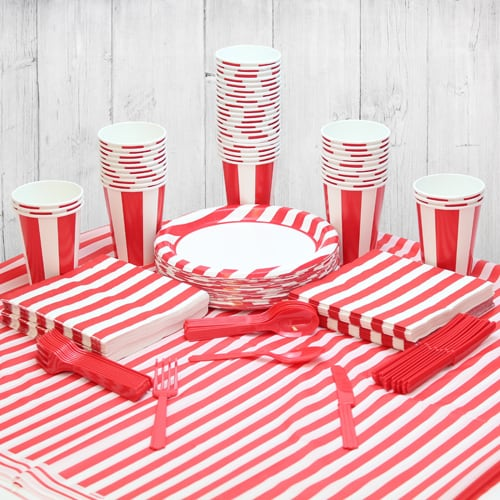 Red And White Stripe 54 Person Party Pack