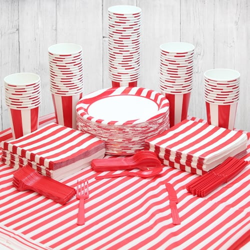 Red And White Stripe 90 Person Party Pack