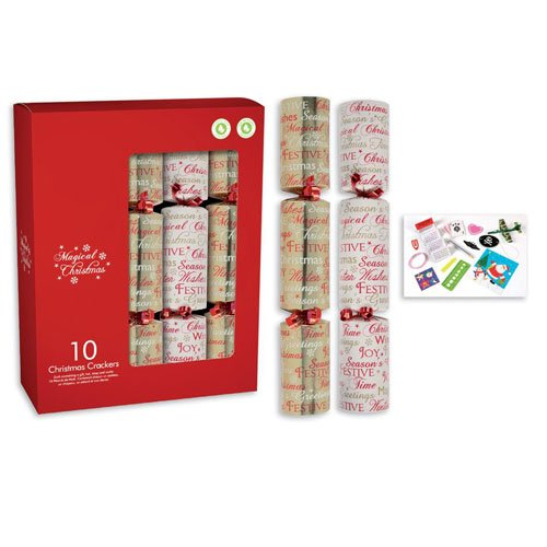 Red & Gold Script Christmas Crackers 30cm / 12 in - Pack of 10 Product Image