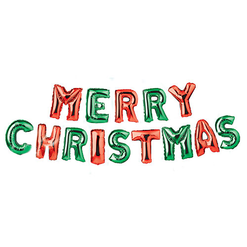 Red & Green Merry Christmas Foil Balloon Banner Product Image