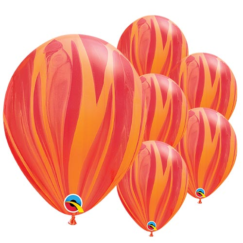Red and Orange SuperAgate Latex Qualatex Balloons 28cm / 11 in - Pack of 25 Product Image