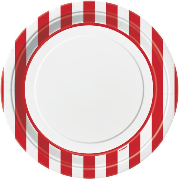 Red and White Stripes Paper Plates 22cm - Pack of 8