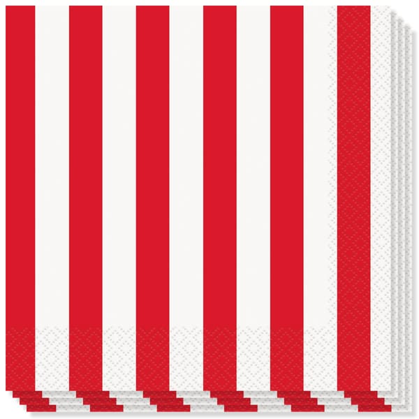 Red and White Stripes Theme Luncheon Napkins - 2Ply - 33cm - Pack of 16