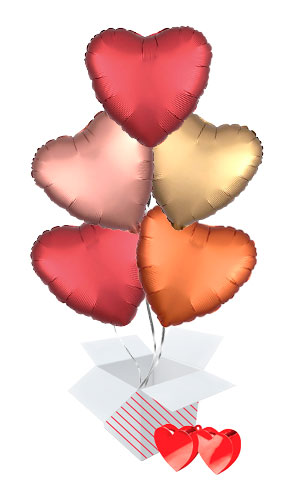 Red Assortment Valentine's Day Hearts Foil Helium Balloon Bouquet - 5 Inflated Balloons In A Box Product Image