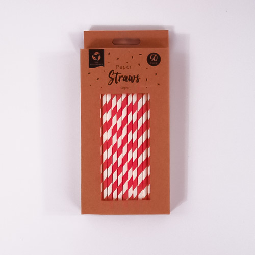 Red Biodegradable Paper Straws - Pack of 50 Product Gallery Image