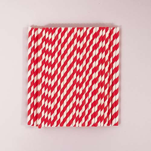 Red Biodegradable Paper Straws - Pack of 50 Product Image
