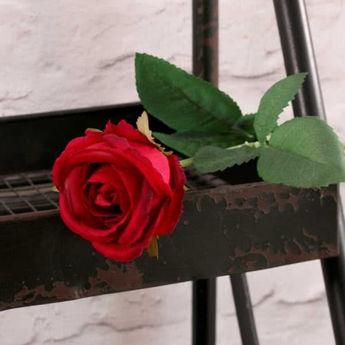 Red Buckingham Rose Artificial Silk Flower 40cm