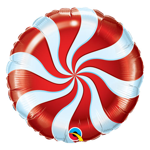 Red Candy Swirl Christmas Round Foil Helium Qualatex Balloon 46cm / 18 in Product Image