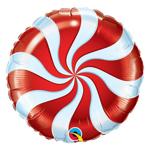 Red Candy Swirl Christmas Round Foil Helium Qualatex Balloon 46cm / 18 in