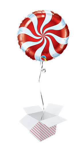 Red Candy Swirl Christmas Round Foil Helium Qualatex Balloon - Inflated Balloon in a Box Product Image