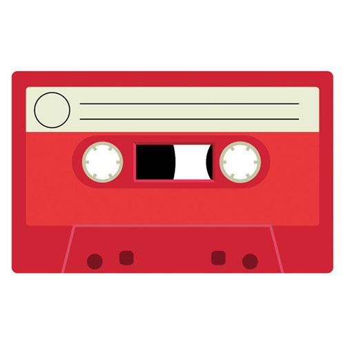 Red Cassette Tape PVC Party Sign Decoration 37cm x 23cm Product Image