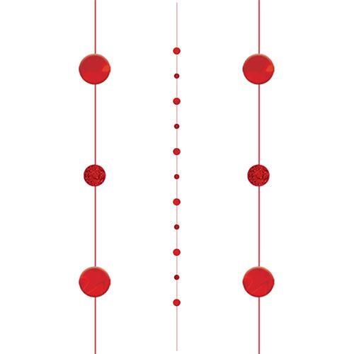 Red Circles Fun String Balloon Tail 182cm