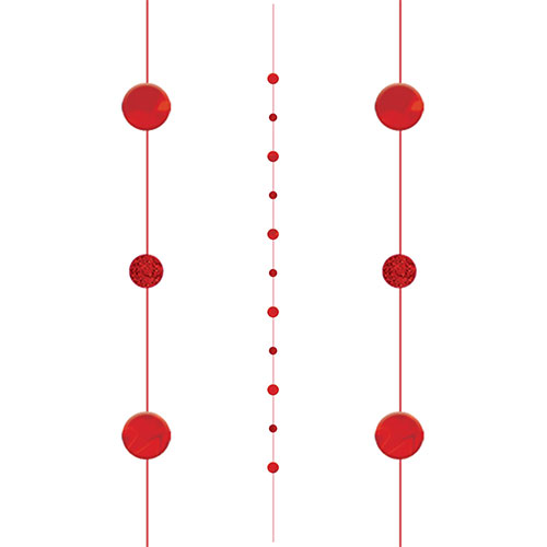 Red Circles Fun String Balloon Tail 182cm Product Gallery Image