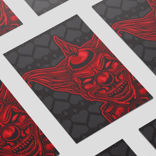 Red Devil Clown Halloween A3 Poster PVC Party Sign Decoration 42cm x 30cm Product Image