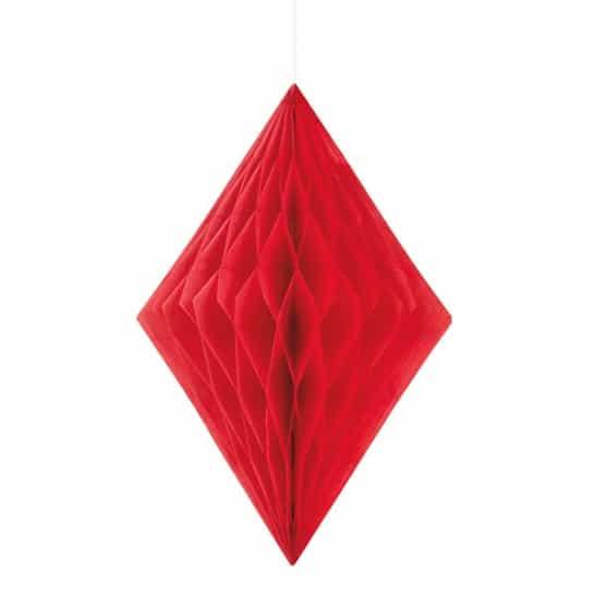 Red Diamond Honeycomb Hanging Decoration 35cm Product Image