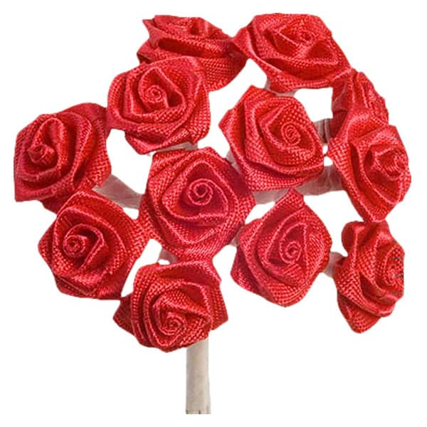 Red Fabric Ribbon Roses - Bunch of 12 Product Image