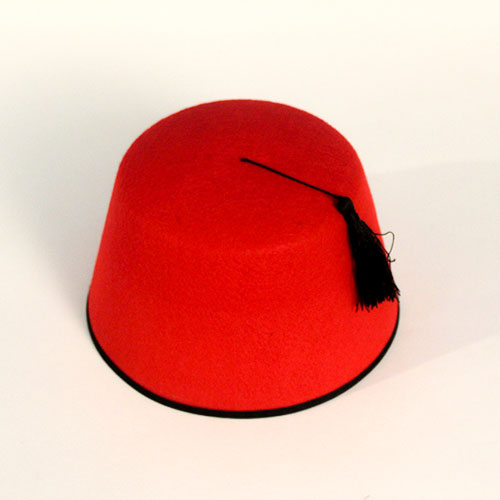 Red Felt Fez Hat With Tassel
